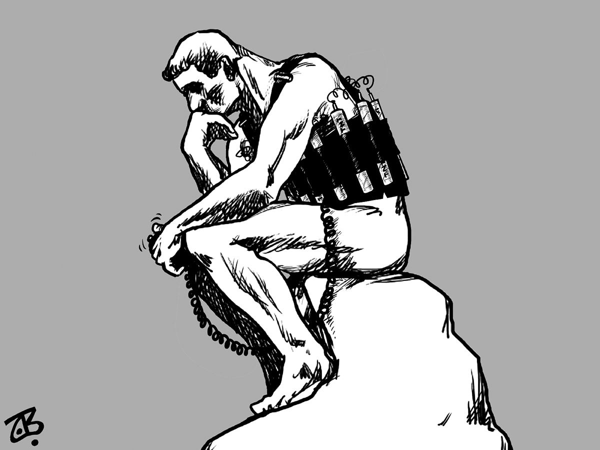 thinker suicide bomber mofakkir yanta7ir inti7ar statue middle rodin east belt end 04-03-11