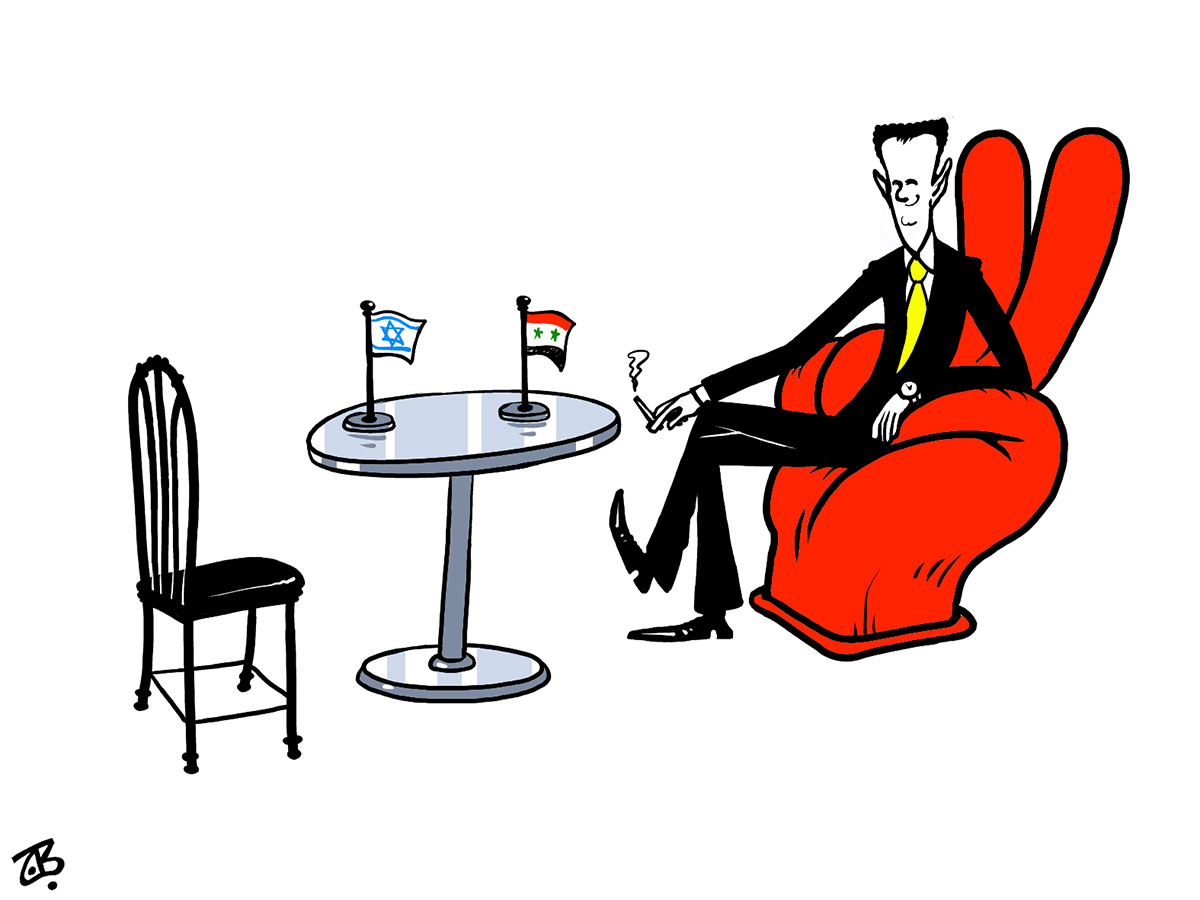 bashar asad coutch chair victory sofa negociation table waiting israel peace lebanon war 06-08-23