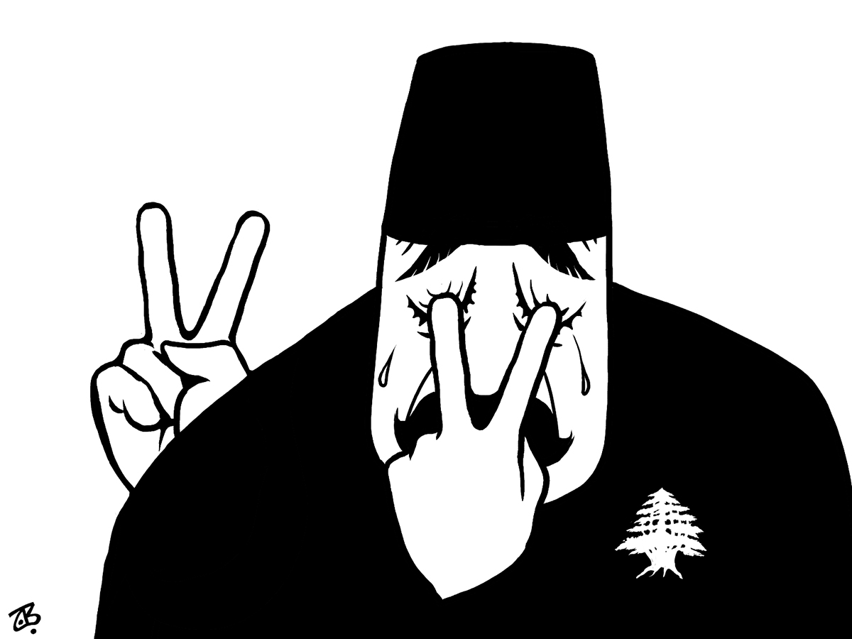 lebanon cry tears fingers victory sign sad cedar abul abed tarboosh eyes 06-07-25
