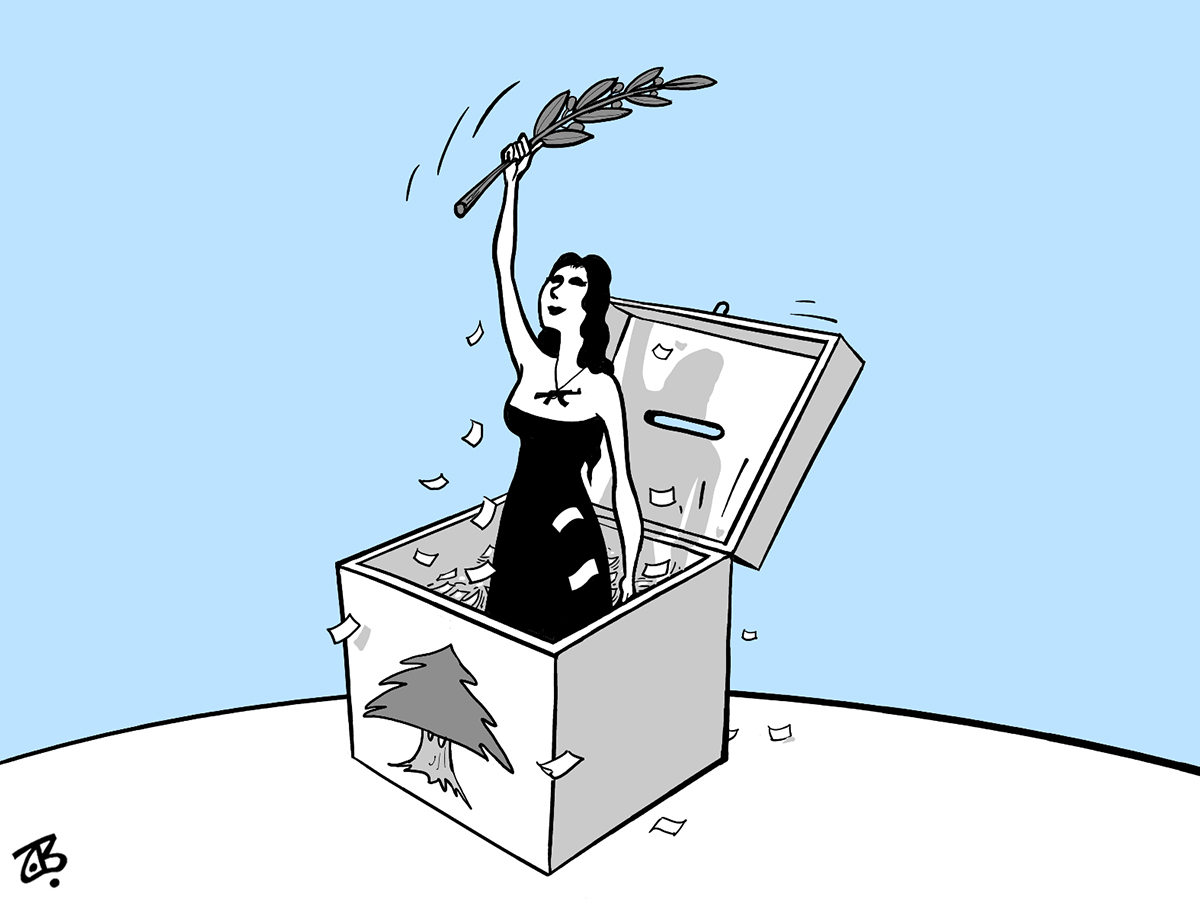 lebanon open election woman ballot box peace cedar tree olive branch 09-06-08