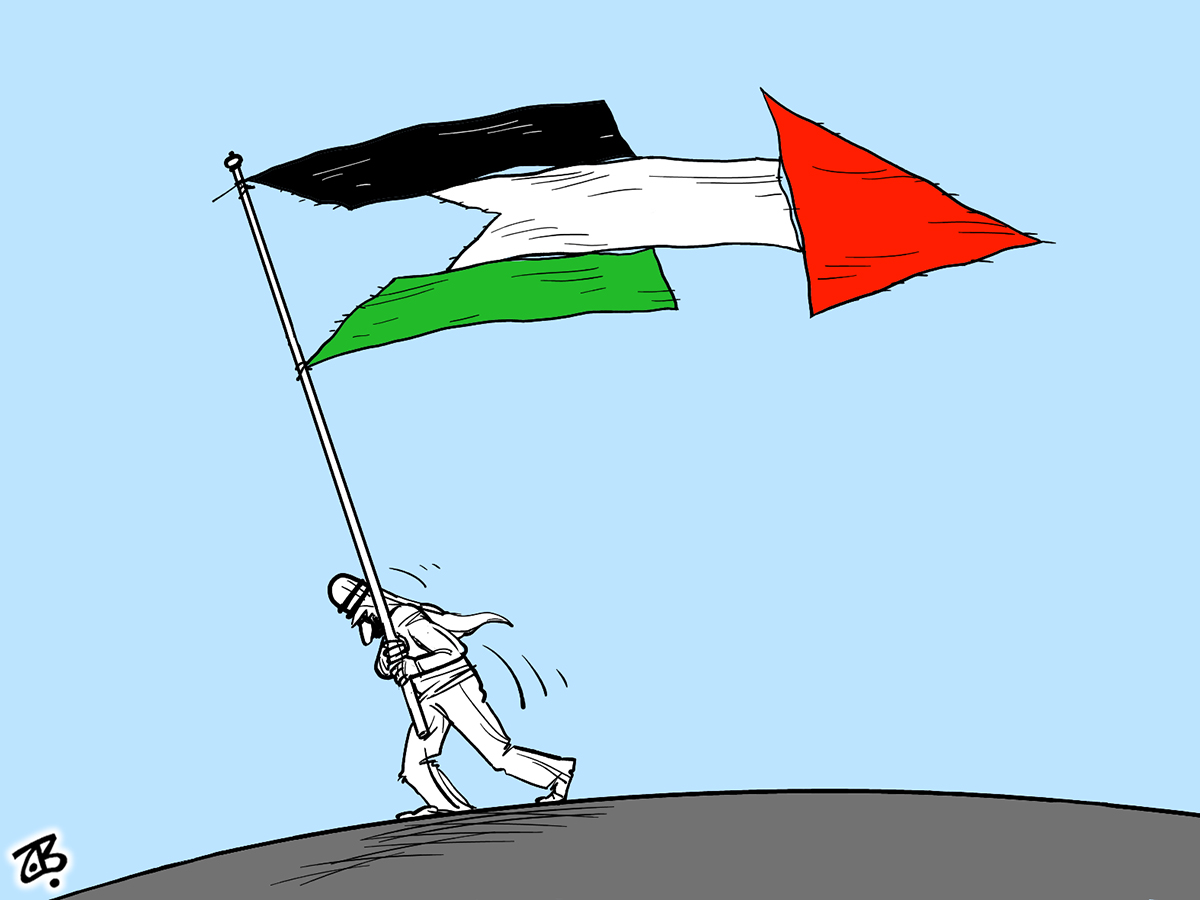 palestine flag pieces arrow direction israel man pull divided fatah hamas 09-06-11