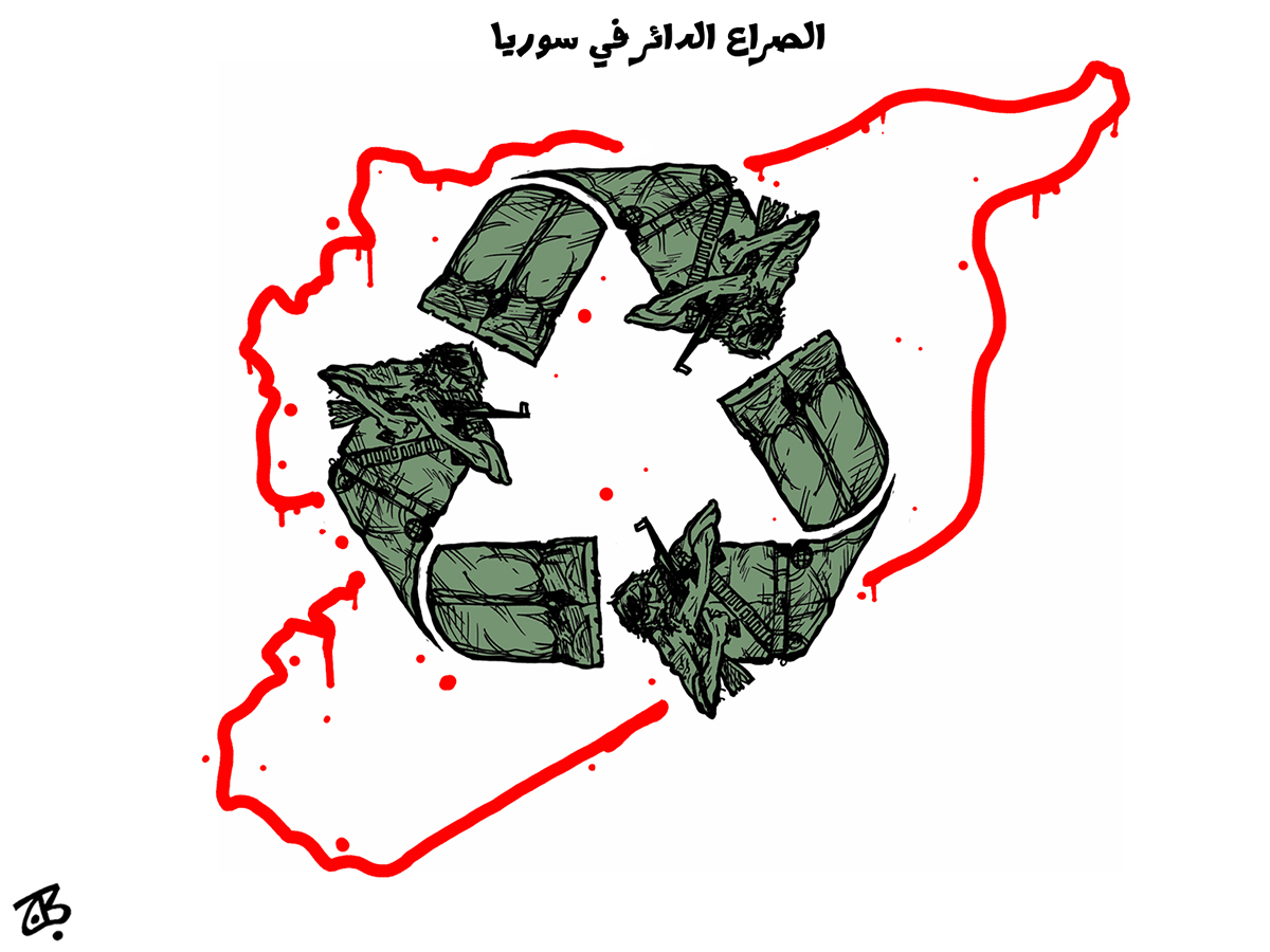 syria violence recycle cycle of fighters blood line map logo green war crimes 13-11-16