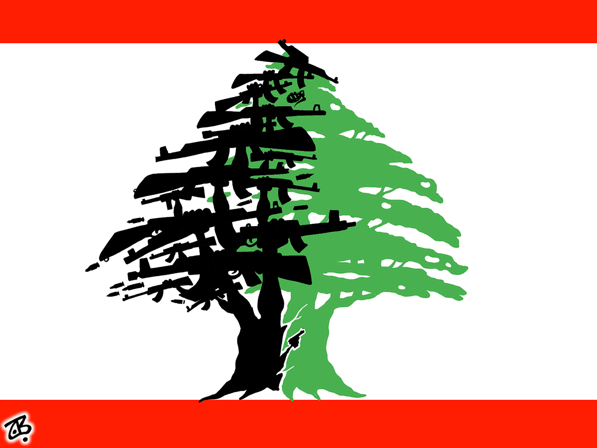 archive cedar tree lebanon hezbullah weapon logo flag divided arms hands guns resistance 14-02-20