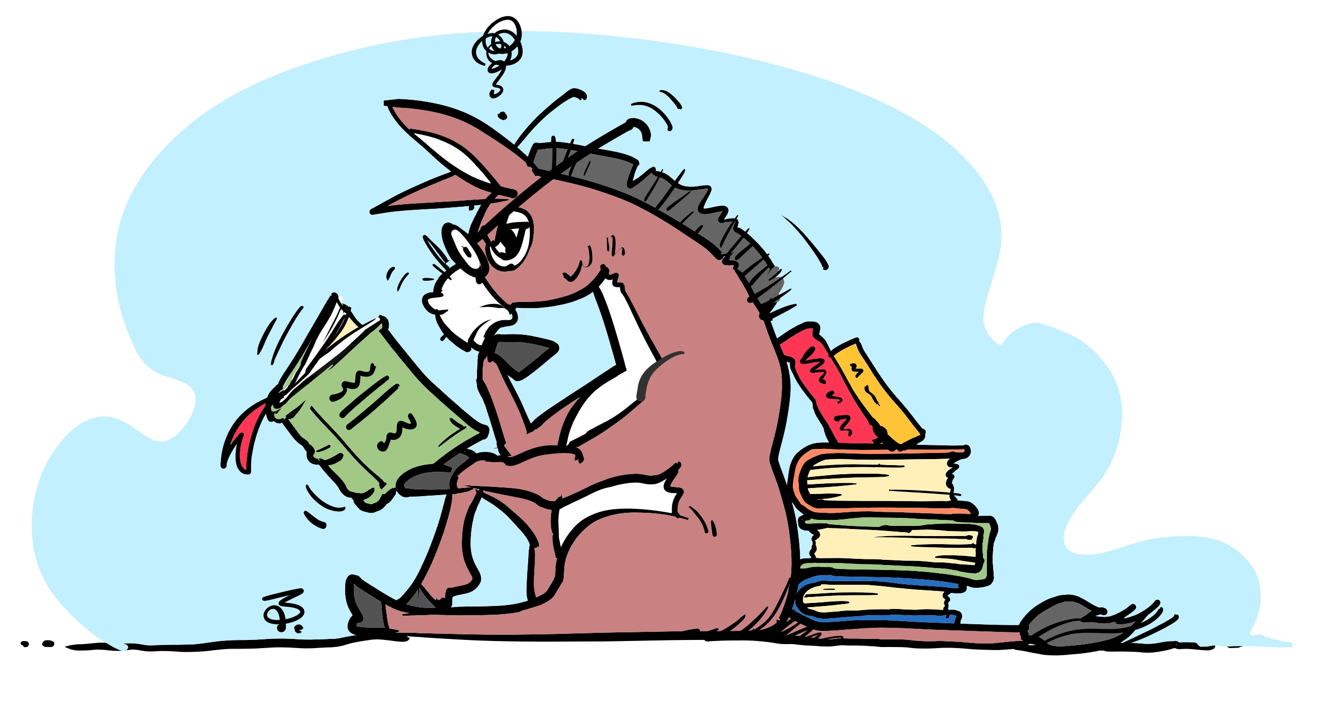 donkey reading book 15-03-16